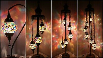 New 1/3/5/7 Glass Turkish Moroccan Style Glass Floor/Table Lamp - UK Certified • 44.98£