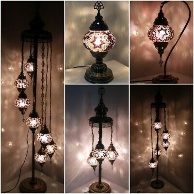 Purple Colour 1/3/5/7 Glass Turkish Moroccan Style Glass Floor/Table Lamp • 44.98£