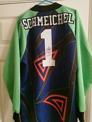 PETER SCHMEICHEL MANCHESTER UNITED SIGNED SHIRT SIZE LARGE COLLECTABLE Bs1 • 299.99£