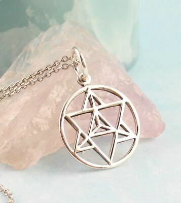 Merkabah Pendant ONLY - 3D Star Of David Sacred Geometry Chariot Silver Wh306 • 24.58£