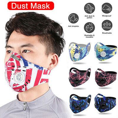 Reusable Face Mask With Filter Anti Air Pollution PM2.5 Two Valve Washable UK • 6.25£