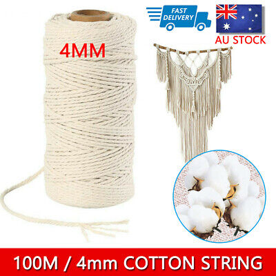 AU14.29 • Buy 4mm 100m Natural Cotton Twisted Cord Craft Macrame Artisan Rope Craft String AU