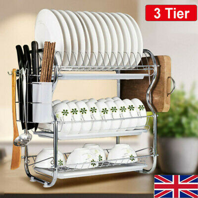 3 Tier Kitchen Chrome Dish Drainer Cutlery Cup Plates Sink Rack Drip Tray Holder • 14.98£