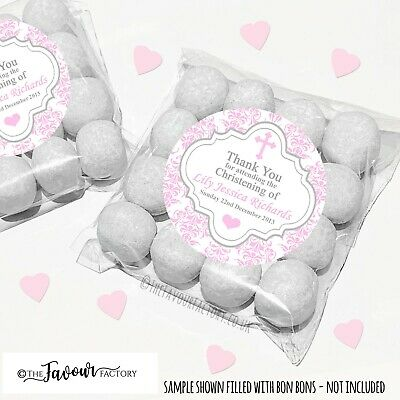 Christening Favours Sweet Bags Kits Personalised Pink Damask Cross X12 • 2.98£