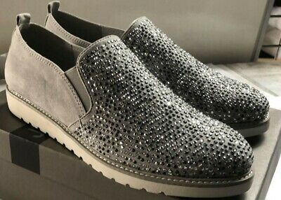 Jana Light Grey / Sparkles Ladies Slip-On Suede Shoes UK 6.5 / EU40 H New In Box • 22£