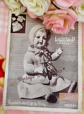 £2.99 • Buy Vintage 1930s Doll Clothes Knitting Pattern. 4 Pieces To Knit