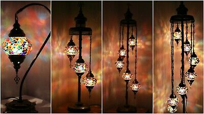 New 1/3/5/7 Glass Turkish Moroccan Style Glass Floor/Table Lamp - UK Certified • 109.98£