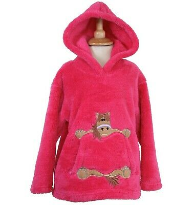 Child's Cerise Pink Fleece Hoodie With Horse/Pony Embroidered Pocket  • 19.95£