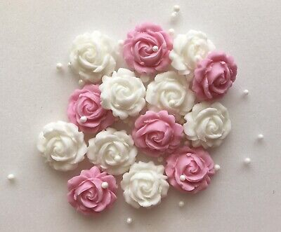 Pink And White Roses - Edible Sugar Paste - Cup Cake Decorations, Toppers • 3£