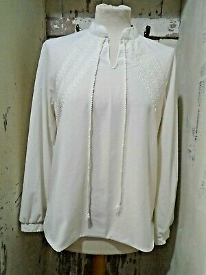 Vintage White Long Sleeve  Top UK 14 Lace Design And String Tie At Neck • 6£