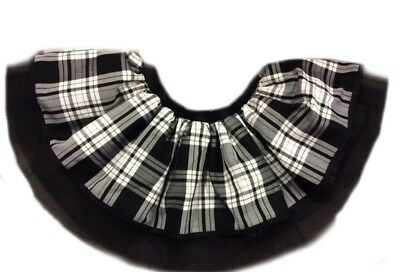 BLACK WHITE TARTAN TUTU SKIRT KILT 80s FANCY DRESS HEN PARTY COSTUME GOTHIC • 8.99£