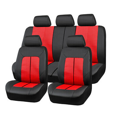 AU91.19 • Buy Universal Red Leather & Mesh Car Seat Covers Breathable Comfortable For SUV VAN