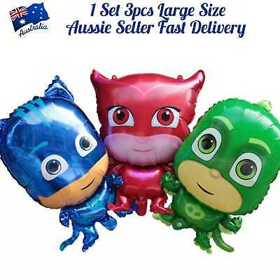 AU9.95 • Buy PJ Masks Balloon Giant Size 1set 3pcs Premium Quality Birthday Party Decoration