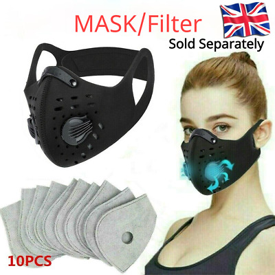 Face Mask Reusable Washable Anti Pollution PM2.5 Two Air Vent With Filter UK • 3.59£
