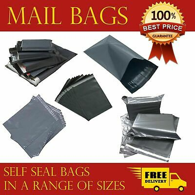 Strong Mailing Bags Large Medium Small Grey Plastic Postage Postal Bags UKSeller • 4.04£