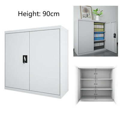 Grey Office Storage Cupboard Filing Cabinet Metal Closet Lockable Two Doors Home • 84.99£