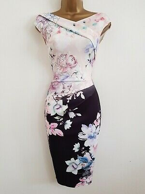 £9.95 • Buy NEW LIPSY 8 10  Pink Black Floral Print Pencil Bodycon Dress Wedding Occasion