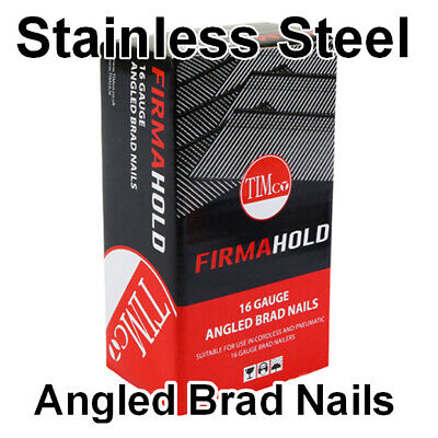 Stainless Steel 16 Gauge Angled Brad Nails 38mm, 50mm & 64mm X 2000 Per Box  • 45.83£
