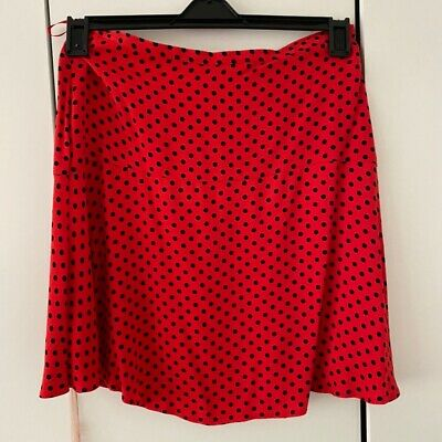 Polka Dot Red And Black Skirt M&S Size 8 • 4£