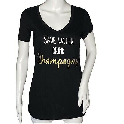 £12.38 • Buy Jenni Intimates T-Shirt Size XSmall Graphic Tee Save Water Drink Champagne