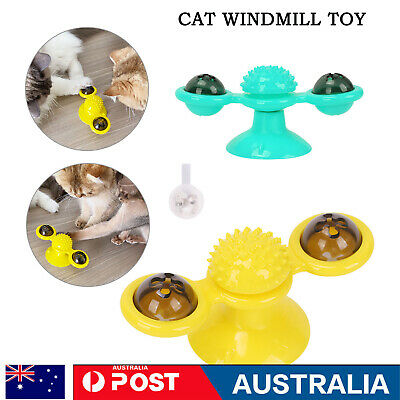 AU9.69 • Buy Windmill Cat Toy Kitty Turntable Interactive Toy Scratch Hair Brush AU STOCK