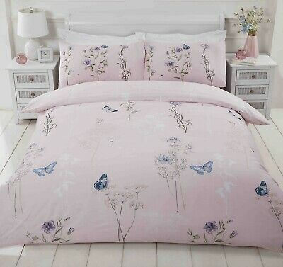 £10.75 • Buy Butterfly Floral Bumble Bee Pink Blush Single Duvet Cover Quilt Bedding Bed Set