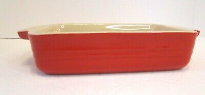 Le Creuset Small Casserole Baking Dish Red Tan 2 Cups 7 ×5  Stoneware 12-26 • 11.65£