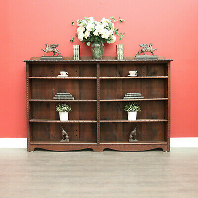 AU950 • Buy Antique English Open Bookcases, Carved Oak Narrow Display Cabinet 2 Of 2
