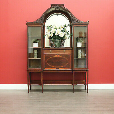 AU1650 • Buy Antique English Mahogany China Cabinet, Dome Top Display Cabinet Cupboard