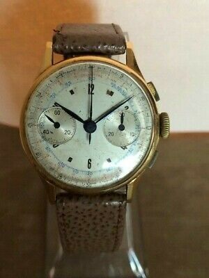 $ CDN955.23 • Buy 18k 1940s Gold Vintage Swiss Chronograph Watch Landeron Movement