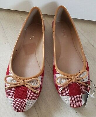 CHECKED PUMPS Size 5 White RED Tan FLAT DOLLY SHOES Bow NEXT  • 12.99£