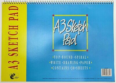 A3 Top Bound Spiral White Drawing Paper 30 Sheets Sketch Pad SS203-40 • 5.22£