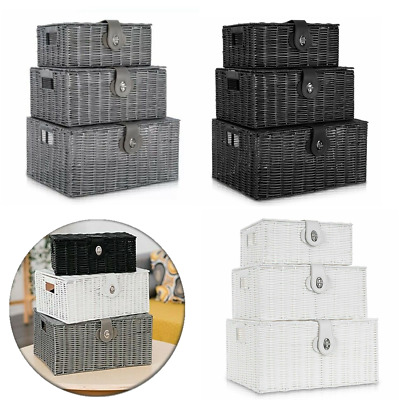 Set Of 3 Resin Woven Wicker Xmas Hamper Basket Storage Box With Lid & Lock Gift • 19.99£