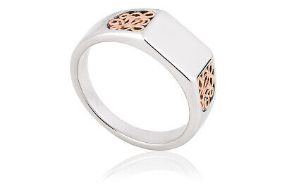 NEW Clogau Silver & Rose Gold Welsh Royalty Signet Ring £50 Off! SIZE K • 79£