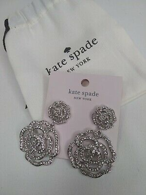 $ CDN67.78 • Buy Kate Spade Crystal Rose  Drop Earrings  Clear/ Silver