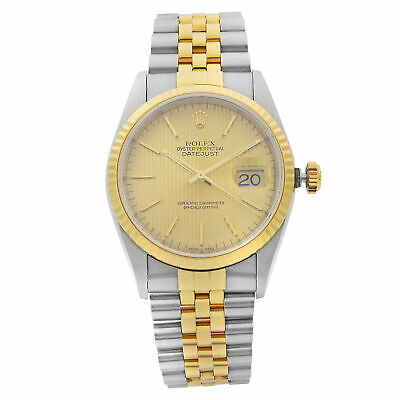$ CDN8271.15 • Buy Rolex Datejust Gold Steel No Holes Tapestry Dial Automatic Mens Watch 16233