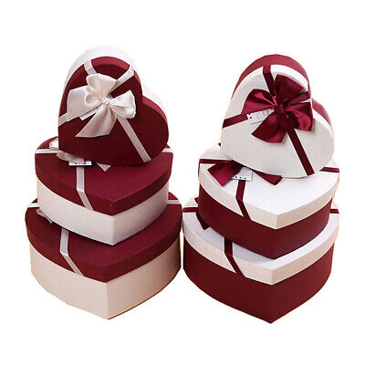 £9.39 • Buy 3pcs Heart Shaped Gift Box Packaging Bow Knot Storage Wrapping Holiday Supplies