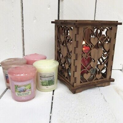 Wood Yankee Candle Gift Set With Love Heart Holder & 4 Scented Votives Gift • 19.99£