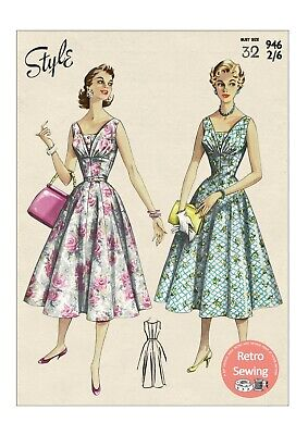 1950's Rockabilly Style Dress With Over Bodice Sewing Pattern - Bust 32 • 18.99£