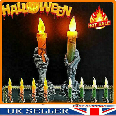 2Halloween Skeleton Hand Led Lamp Candle Flame Light Stand Lamp Party Decoration • 5.69£