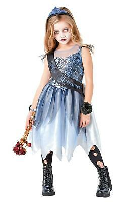 Kids Girls Halloween Costume Zombie Bride Prom Queen Childs Fancy Dress • 14.99£