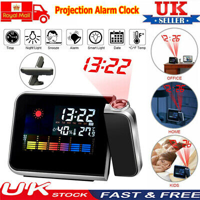 Digital Projection LCD Display Alarm Clock LED With Temperature Weather Station • 9.95£