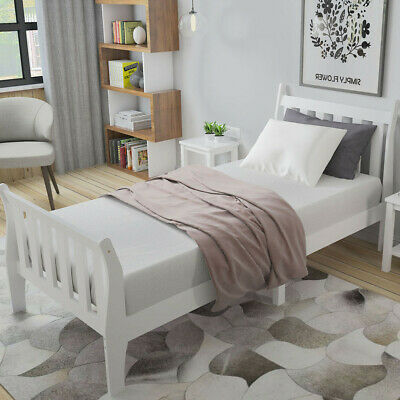 Safe 3ft Single Bed In White Solid Wooden Sleigh Bed Frame Kids Children Bedroom • 95£