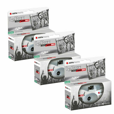 3 X AgfaPhoto LeBox 400 B&W Disposable Camera With Flash (36 Exp) • 29.95£