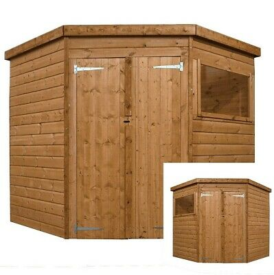 7ft CORNER SHIPLAP GARDEN SHED PRESSURE TREATED DOUBLE DOOR PENT ROOF WOOD STORE • 669.94£