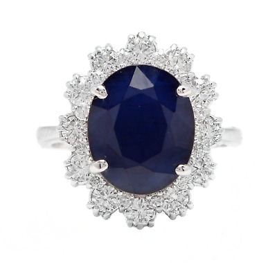 AU2155.03 • Buy 7.20 Carats Natural Sapphire And Diamond 18K Solid White Gold Ring