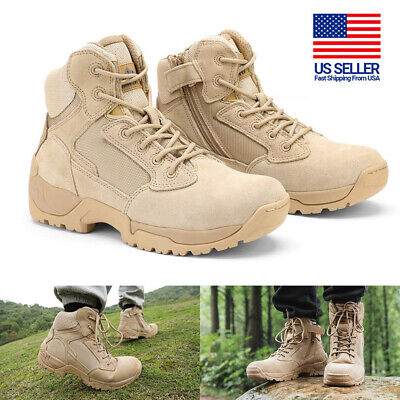 $44.99 • Buy Mens Leather Zip Military Tactical Boots Motorcycle Combat Ankle Hiking Boots US