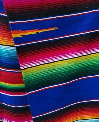 Authentic LG Mexican Serape Blanket Cotton Mix Picnic Throw Hot Rod ROYAL BLUE • 42£