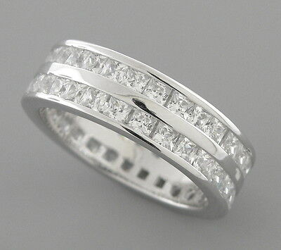 £21.80 • Buy New Sterling Silver Cz Full Eternity Wedding Band Ring Size 7 Princess Cut