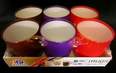 6 X  Dynasty Plastic Mugs 3 Asorted Colours Odourless & Food Grade BPA Free  • 7.90£